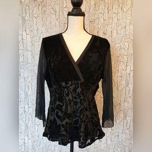 Black Floral Velvet with Sheer Sleeves Top